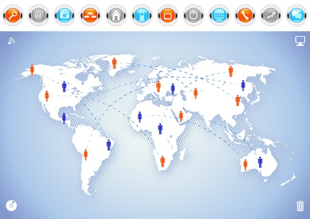 World map background with communication icons. Stock Vector - 11051147
