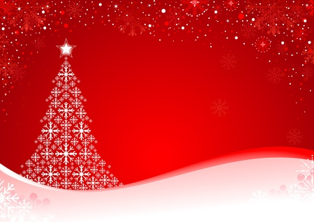 Abstract Christmas background with snowflakes and Christmas Tree. Global colors for easy editing. Vector