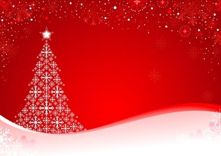 christmass: Resumen fondo de Navidad con copos de nieve y �rbol de Navidad. Colores globales para facilitar la edici�n.