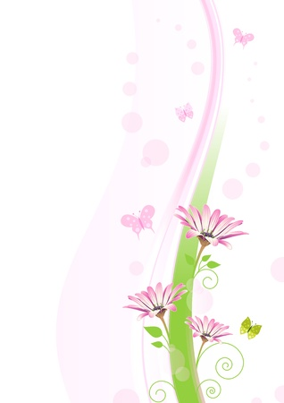 Pink and green floral ornament with copy space. Illustration