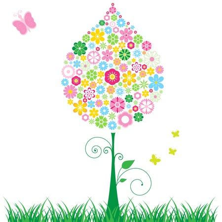 Flowered tree illustration with butterflies. Stock Vector - 11051160
