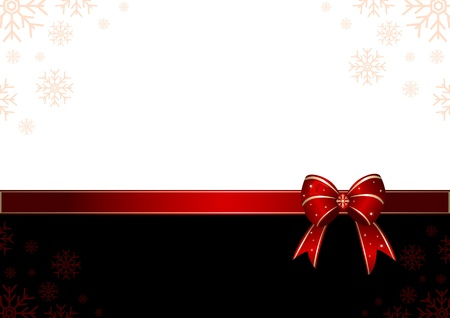christmas bow: Red decorative Christmas card design with bow-knot and copy space.