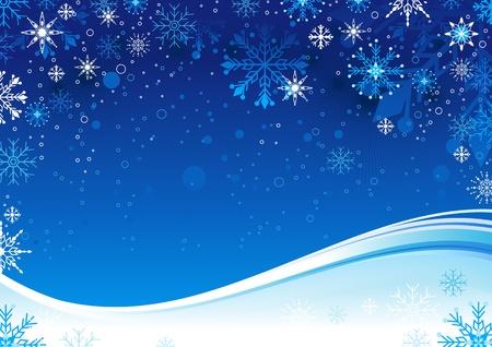 Sfondo blu di Natale con i fiocchi di neve e lo spazio della copia.