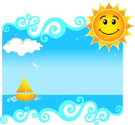 gaviota: Fondo de verano con un sol feliz.
