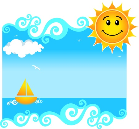 Summer background with a happy sun.