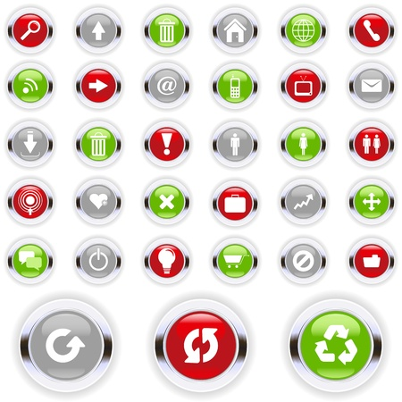 home button: Set of colorful communication icons.