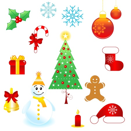 Set of Christmas design elements. Vector