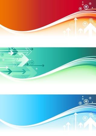 Zusammenfassung Hintergrund mit Pfeilen und Welle. Globale Farben f�r die einfache Bearbeitung.