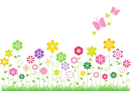 Abstract background with colourful flowers. Vektorové ilustrace