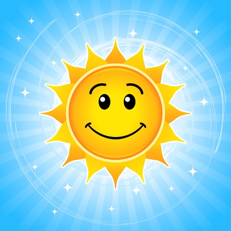 Happy sun illustration against blue sky. Vector
