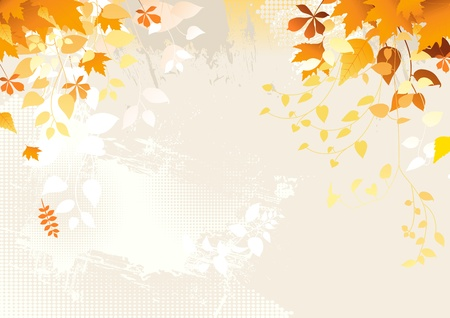 Falling autumn leaves background with copy space. Vector