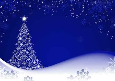 Christmas Background with stylized tree and snowflakes,  illustration.