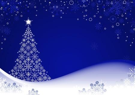 Sfondo di Natale con albero stilizzato e fiocchi di neve, illustrazione. Vettoriali