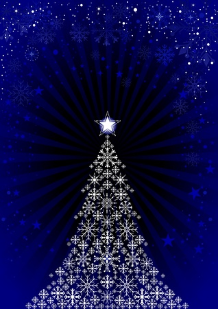 Christmas Background with stylized tree and snowflakes,  illustration. Vector