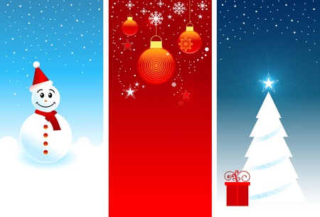 Three vertical Christmas banners with snowman, gift and tree. Vector