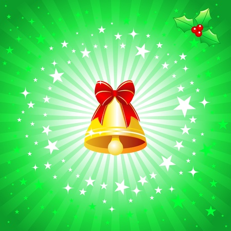 Christmas design with Christmas bell and bowknot . Vector