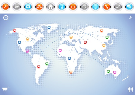 World map with social network and communication icons. Vector