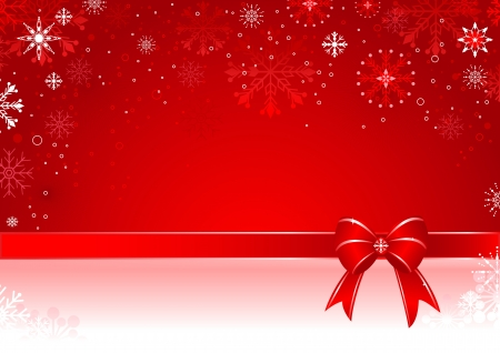 Christmas background with gift bow and snowflakes.