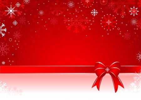 Sfondo Natale con fiocco regalo e fiocchi di neve. Vettoriali