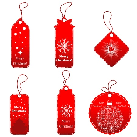 Set of red tags with cord. Vector