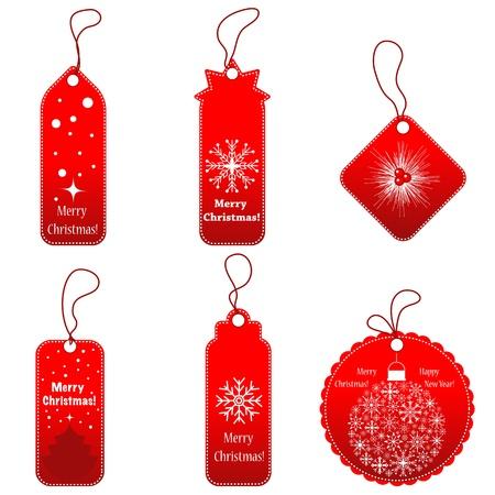 kerst markt: Set van rode labels met koord.