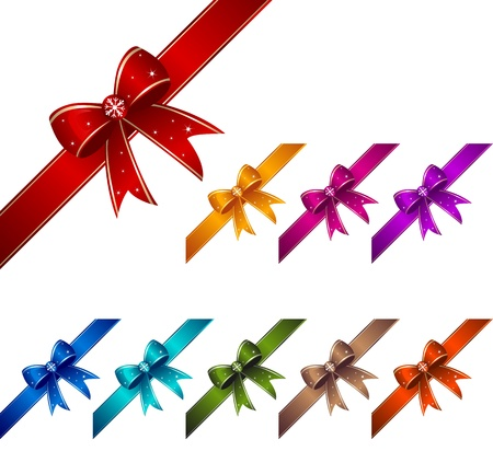 Set of colorful ribbons with knots. Vector