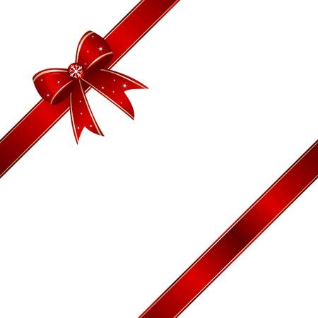 moños navideños: Red caja de regalo de la cinta nudo con copia espacio. Vectores