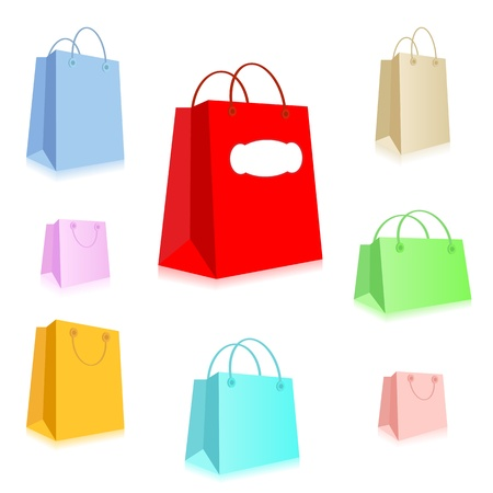 Vector illustration of colorful shopping bags. Vector