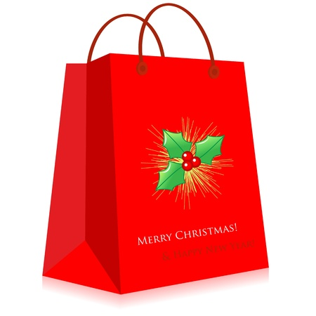 themed: Christmas themed red shopping bag. Illustration