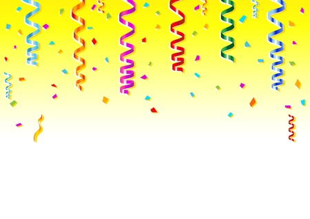 Vector illustration of multicolored confetti on white background. Vector