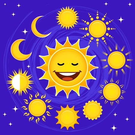 Set of stylized suns with a smiling one. Vector