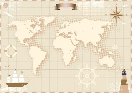 Afbeelding van een oud papier wereldkaart. Vector Illustratie