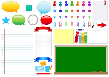 Schooll and office design elements. Global color swatches for easy editing. Vector