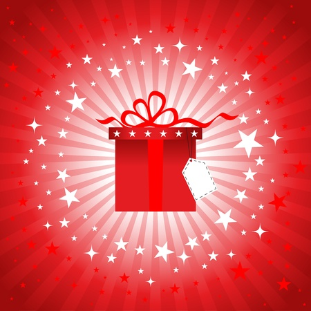 Vector illustration of shiny red gift box with bow knot. Vector