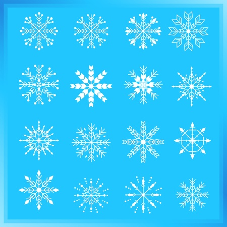 Snowflake design elements with blue background. Vector
