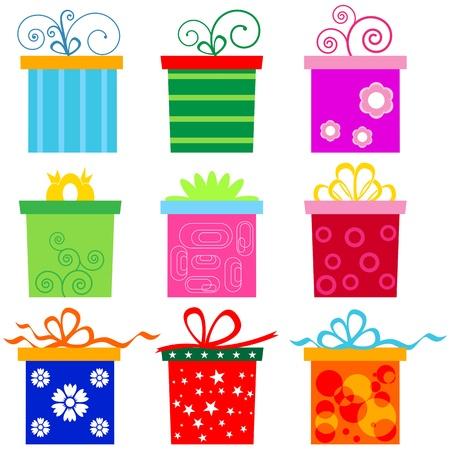 Bunte Geschenkbox mit Bogen Knoten gesetzt.