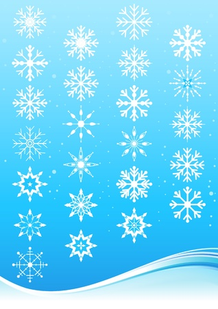 Snowflake design elements with blue wave and blue background. Vector