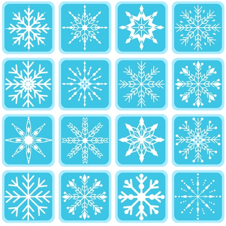 rime frost: Snowflake design elements with frames.
