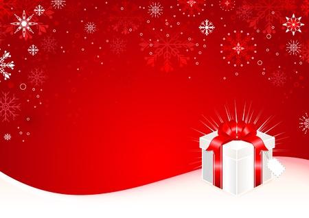 Sfondo Natale con confezione regalo e fiocchi di neve.