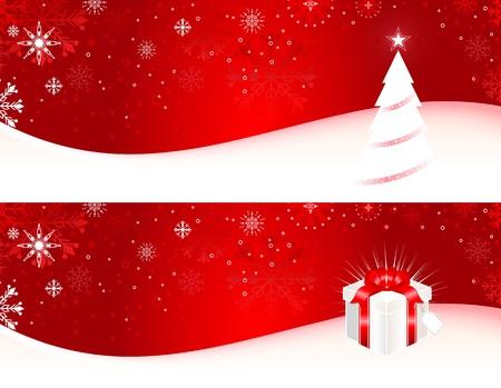 Banner di Natale con albero di Natale, regalo e fiocchi di neve. Vettoriali