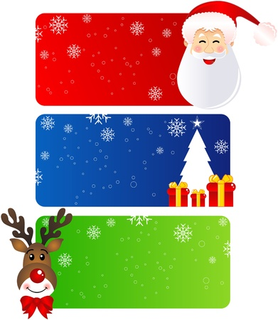 Christmas banners with santa claus and rudolph and Christmas tree. Vector