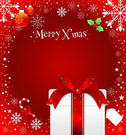heiraten: Weihnachten Hintergrund mit Geschenk-Box und Schneeflocken.