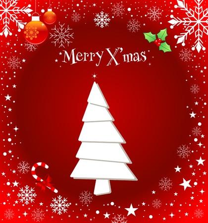 christmass: Christmas background with Christmas tree and snowflakes.