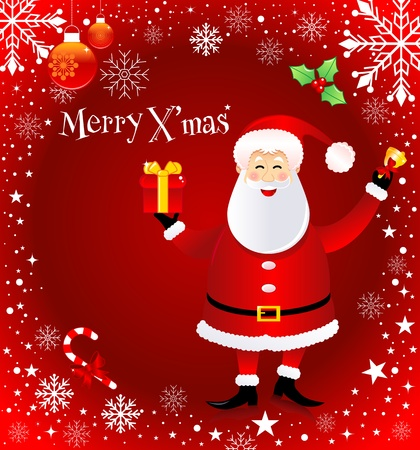 Vector xmas greeting card with Santa Claus. Vector