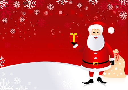 Christmas illustration of santa claus with wave pattern. Vector