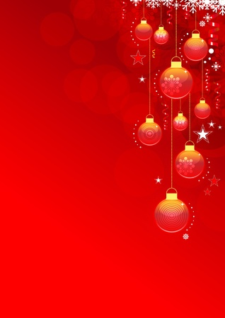 Abstract Christmas background with snowflakes and Christmas baubles. Global color swatches for easy editing. Vector