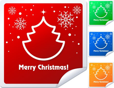 Christmas sticker with tree and snowflake, vector illustration. Vector