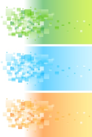 Abstract colorful banner set with pattern. Illustration