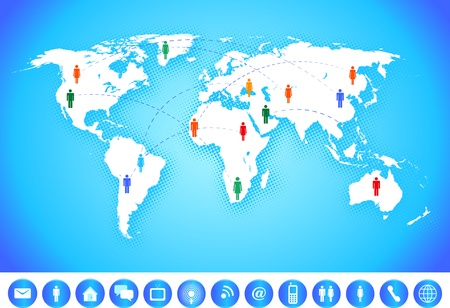 physical geography: World map with social network and communication icons. Illustration