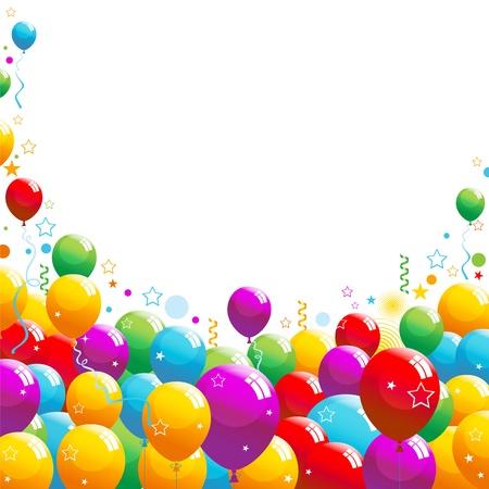 Palloncini colorati con stelle filanti e coriandoli che cadono. Vettoriali